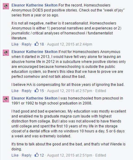 Homeschoolers Anonymous comments