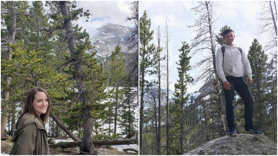 image description: First photo is my sister on the left side with pine trees and mountains behind her at Rocky Mountain National Park. Second photos is my brother standing on a large rock, also surrounded by trees and mountains.